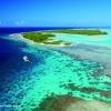 Vue aérienne des atolls des Tuamotu.