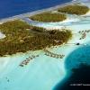 Vue aérienne du lagon de Bora Bora.